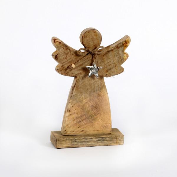 Engel mit Stern, Holz 28x19x6,5 cm natur