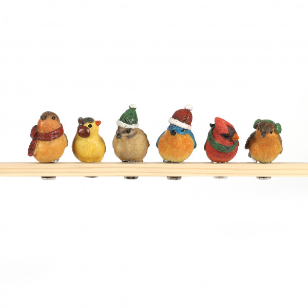 Poly Vogel am Klip, Weihnachts-Design 6 Modelle sortiert