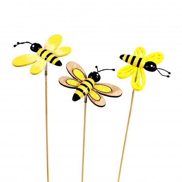 Blumenstecker Biene Holz-Filz, 3 Mod. 10x25 cm