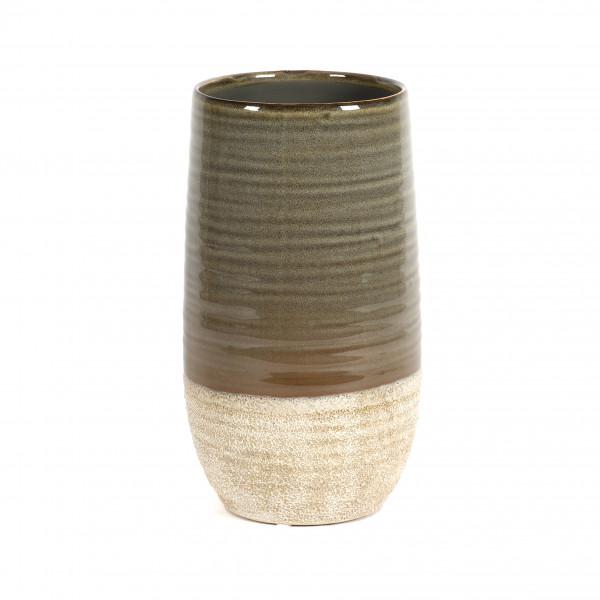 Keramik Vase Marlon bauchig, 17xh30cm peanut braun glasiert, Fuß abgesetzt