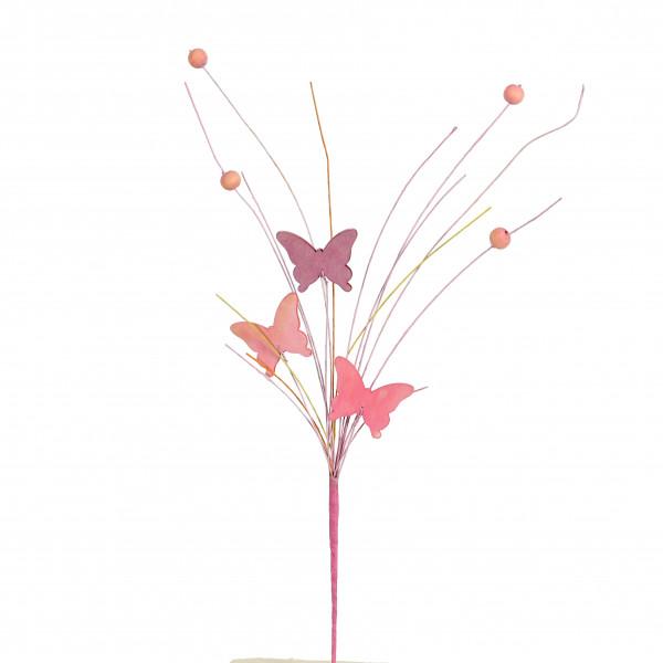Schmetterlings-Stecker Holz, mit Deko- Perlen, 2 Farben sortiert, Länge 35cm