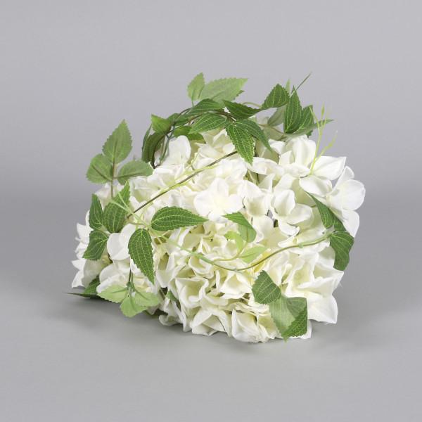 Hortensienkopf mit Blättern, 26 cm creme
