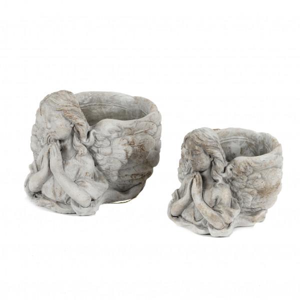 Engel Betend mit Pflanz-Topf, Zement
