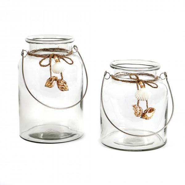 Windlicht Amrum Glas, klar mit Muscheln