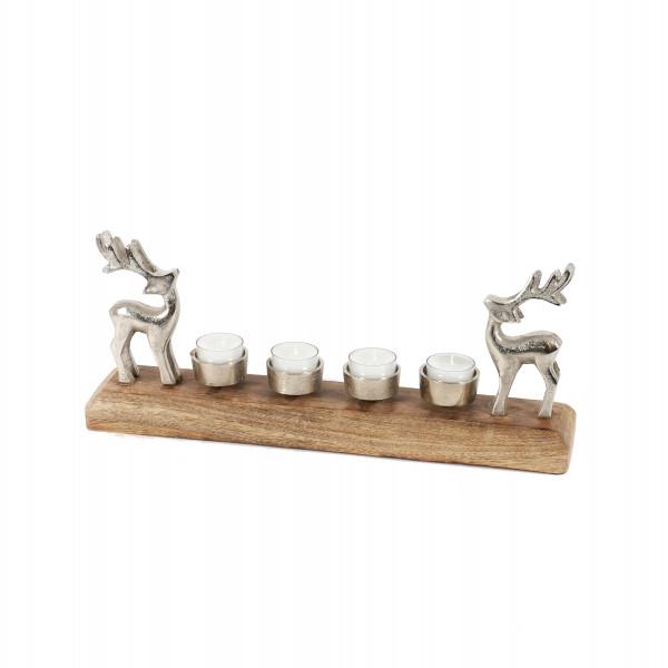 Teelichthalter x 4, 2 Hirsche, natur Holz/Metall, 40x16x8 cm