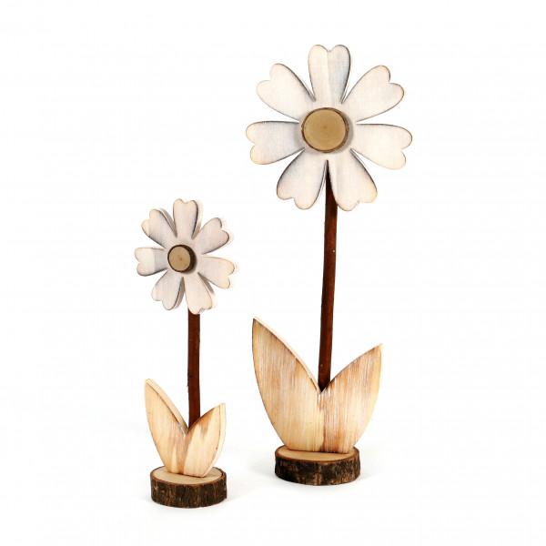 Blume Margherite Holz, weiß