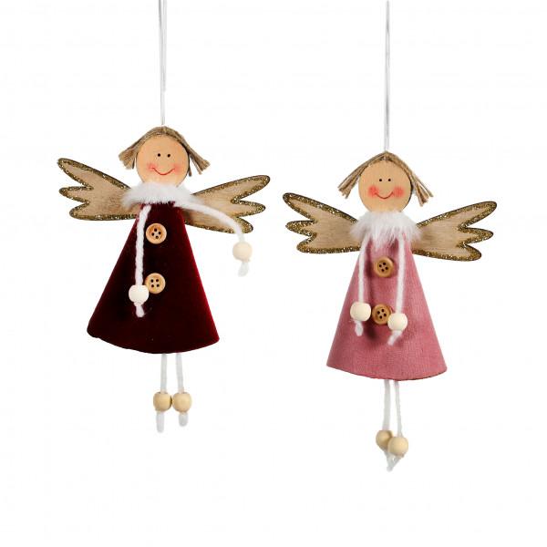 Engel zum hängen,Holz-Textil, rot-rose 2 Modelle, 10,5x14 cm