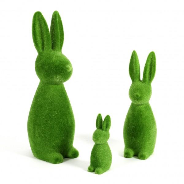 Hase stehend Flock Kunststoff, grün