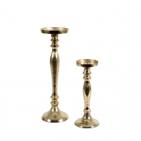 Kerzenleuchter, Stumpen+Spitzkerze gold
