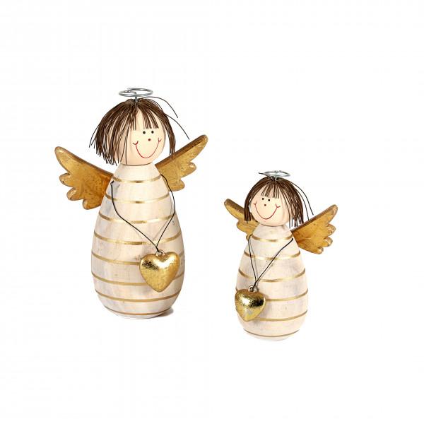 Engel Clara , Holz, mit Herz creme-gold