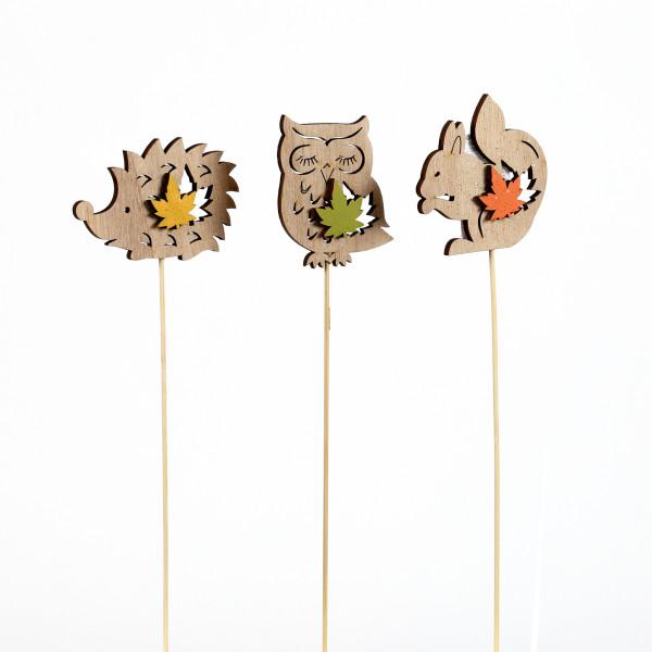 Blumenstecker Herbsttiere mit Blatt Holz 25 cm, 3 Modelle