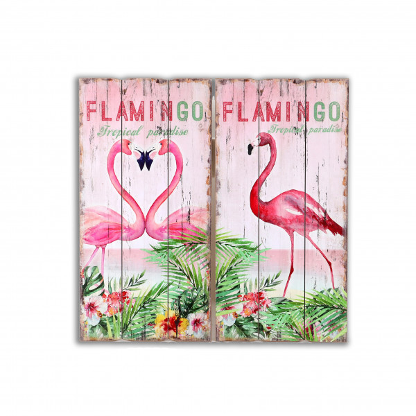 Wandbild Flamingo , 30x60x1.8cm 2 Mod.