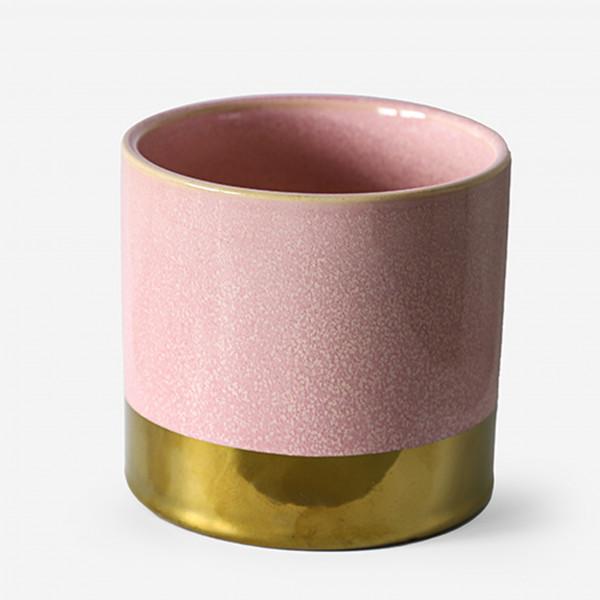 Keramik Zylinder-Topf Juna 14xh.13cm rosa glasiert und goldener Fuß
