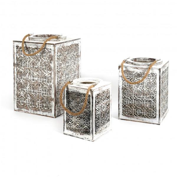 Holz Laterne Marokko mit Glas