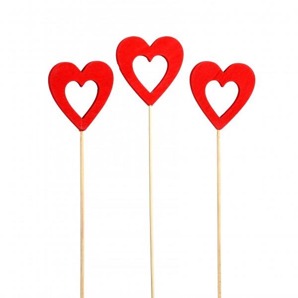 Holz-Stecker Herz offen, rot 6,5x25cm