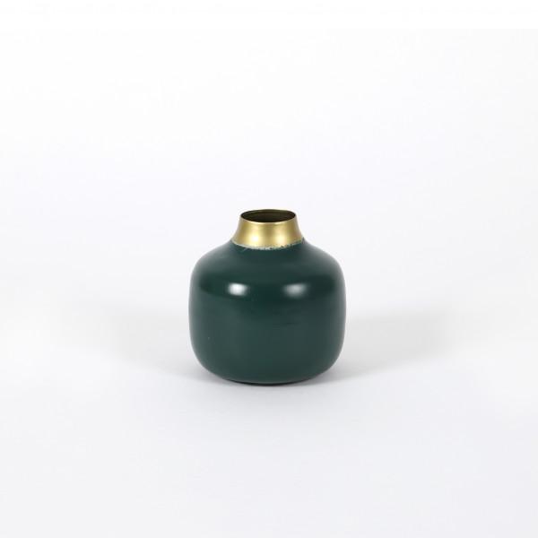 Vase Molde Metall, dk. grün-gold 10x10 cm