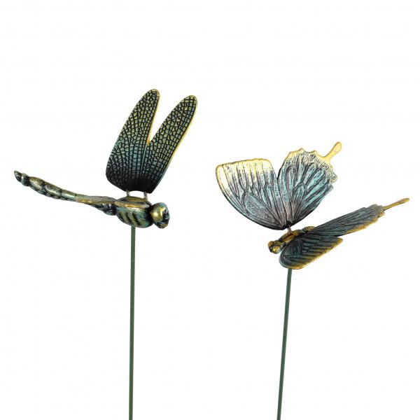 Gartenstecker Schmetterling,Wackeltier 2 Mod.sort.,grün-antik,Kunststoff