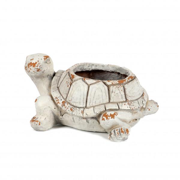 Magnesia Pflanz-Schildkröte, 37x29xh19cm weiß antik