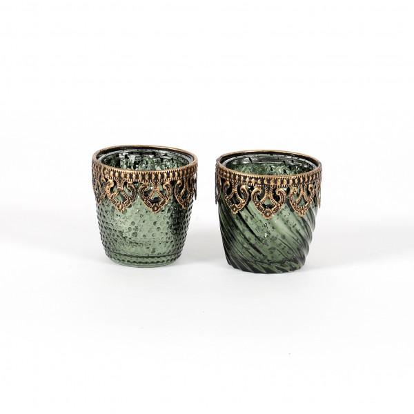 Teelichtglas Elis Glas, konisch, 2 Mod mit Metallbeschlag,9x14 cm, dk grün