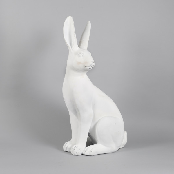 Poly Deko Hase Monsieur Lapins weiß 43x26xh80cm