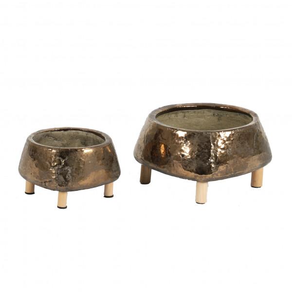 Keramik-Schale auf 4 Holzfüßen bronze glasiert