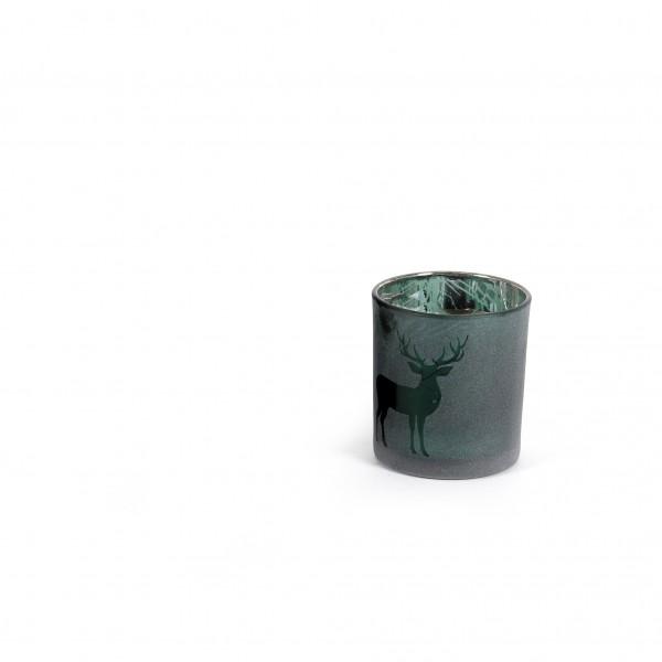 Teelicht 7x8 cm Hirschmotiv verspiegelt tannengrün