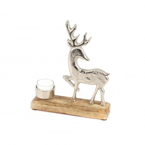 Teelichthalter Hirsch , Holz/Metall 22x18x5 cm, natur