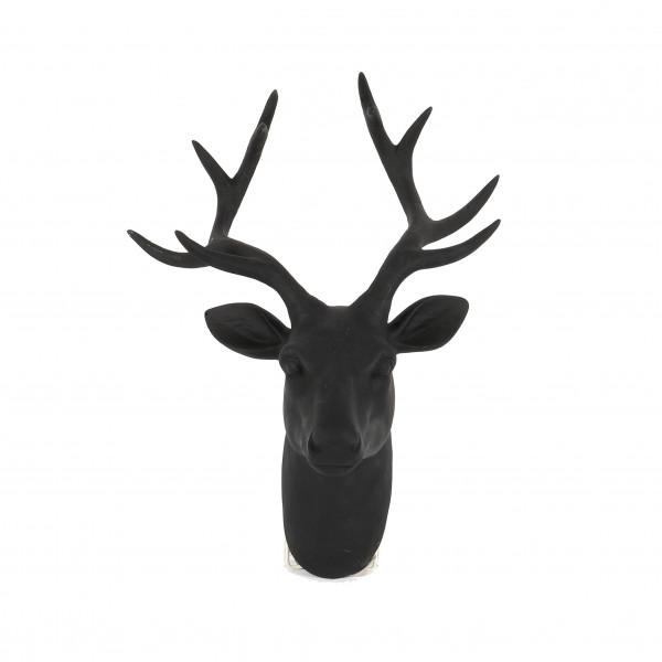 Polyresin Deko Hirsch-Kopf, Wandhänger 43x33x19cm, matt-schwarz