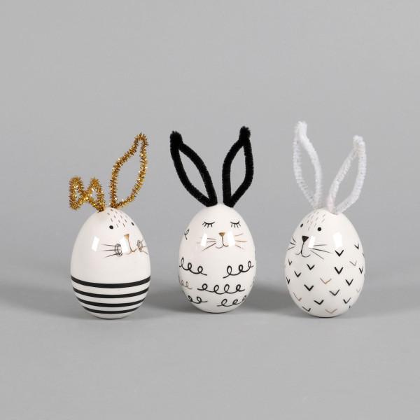 Keramik Hasen 3 Modelle sortiert Ei-Förmig, schwarz/weiß, 6xh12cm