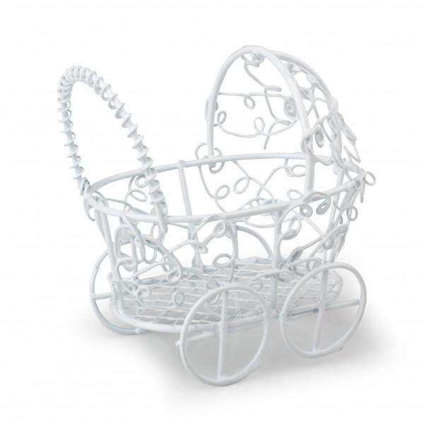 Kleiner Kinderwagen für Gastge schenke B7 cm H7 cm weiß