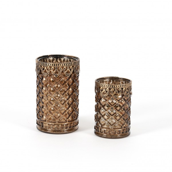 Windlicht Elis Glas, Zylinder mit Metallbeschlag