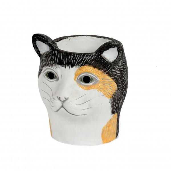 Zement Pflanz-Katze Sandy 19x17xh19cm schwarz-weiß