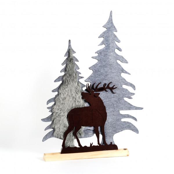 Deko Waldszene auf Holzbase, Filz, grau-braun, 55x8x52 cm