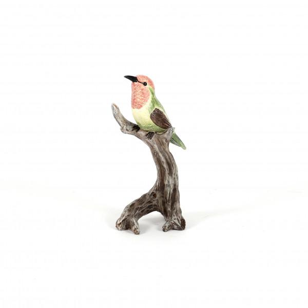 Poly Vogel auf Holzast, grün/rosa 9x7xh.19,5 cm