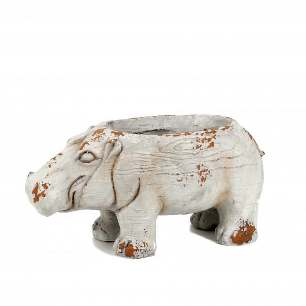Magnesia Pflanz-Nilpferd, 50x18xh24 cm weiß-antik