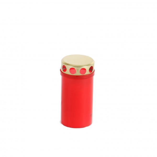 Grablicht m. goldenem Deckel rot 20/TRY H12cm D5,5 cm Brenndauer 53Std.