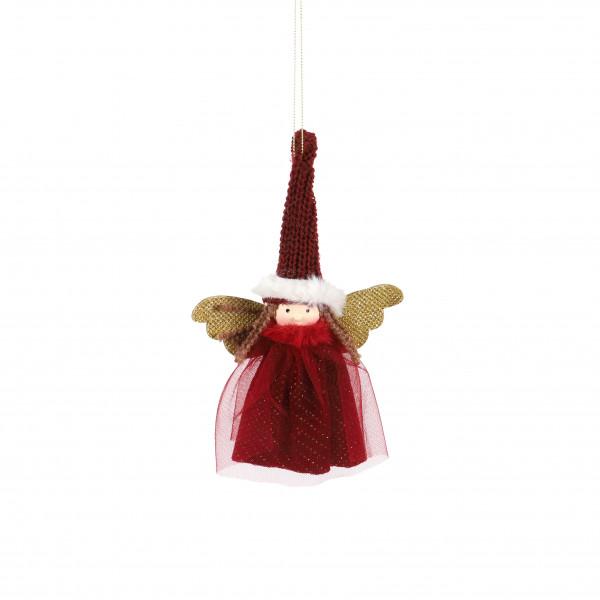 Engel Helga , Stoff, mit Tüllkleidchen +Flügeln, rot, 24x4x14 cm