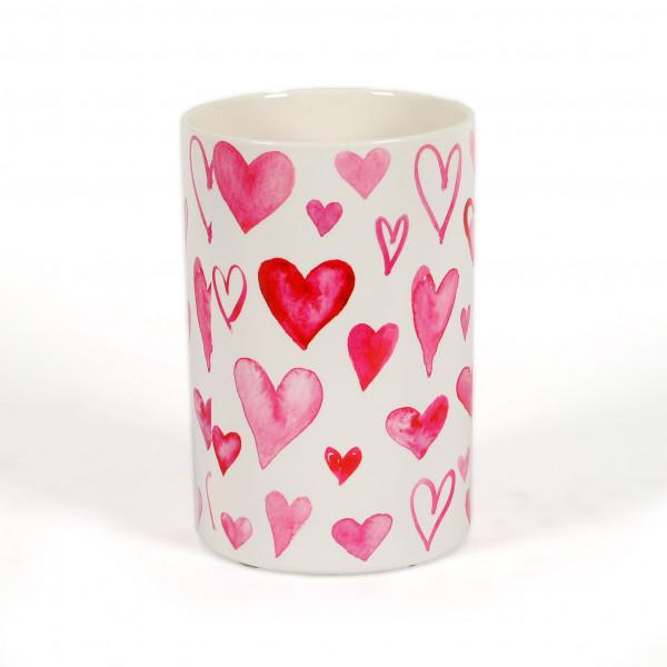 Keramik Zylinder-Vase heartbreaker weiß m.roten Herzen, 14xh.21cm
