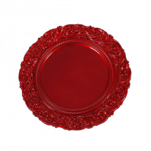 Kunststoff-Teller rund, 36x36x2,5cm Barocker Rand, rot