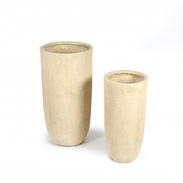 Fibrestone Vase, rund mit Rillenstruktur S/2,28xh57/36xh70cm,terrac.white-antic
