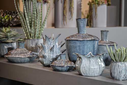 Keramik Topf Italia bauchig m.Rillen blau Reaktionsglasur