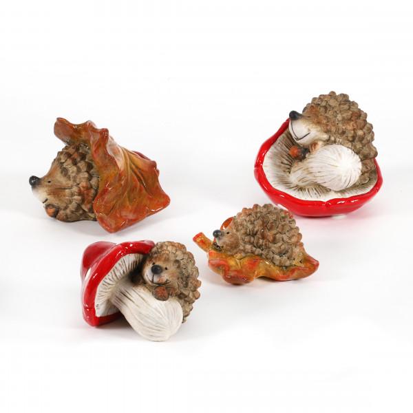 Keramik Igel auf Pilz und auf Blatt 2 Mod sortiert