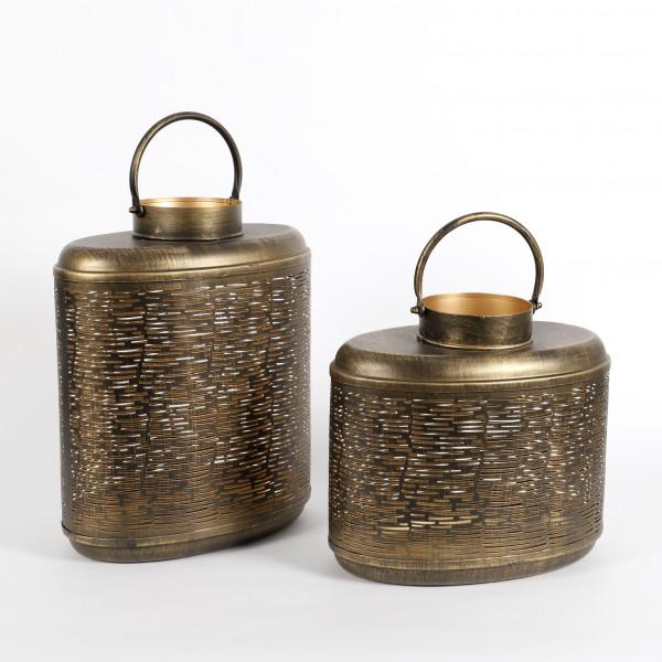 Laterne Askim oval ,Metall gold-antik
