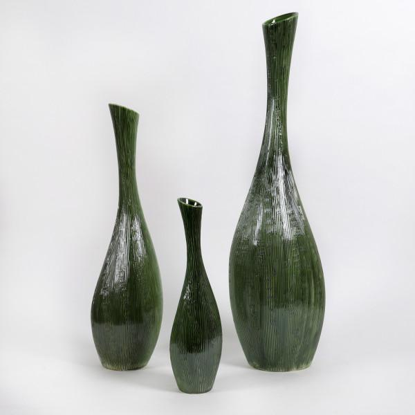 Keramik Flasche Lima, bauchig m.Struktur
