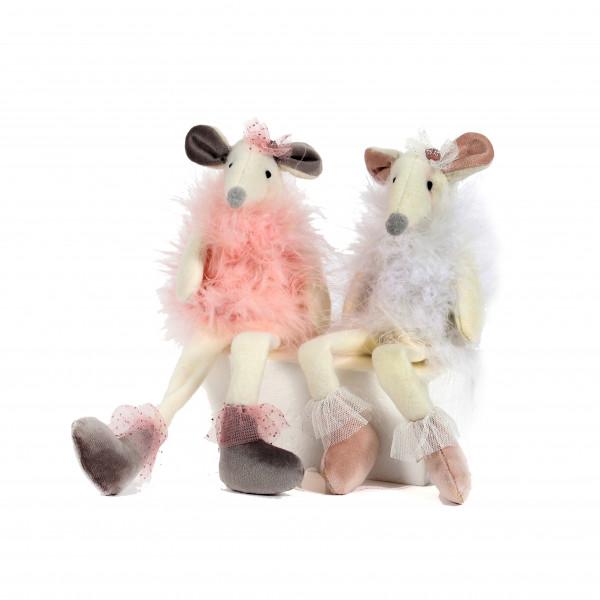 Maus, Stoff, 2 Mod.,Baumelbeine rosa-weiß sort., 9x7x28 cm