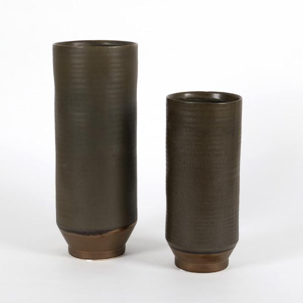 Keramik Zylinder-Vase Adriano blau-grau matt glasiert