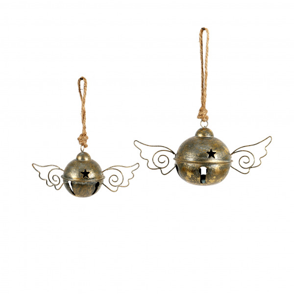 Deko Glocke mit Flügeln, champagner