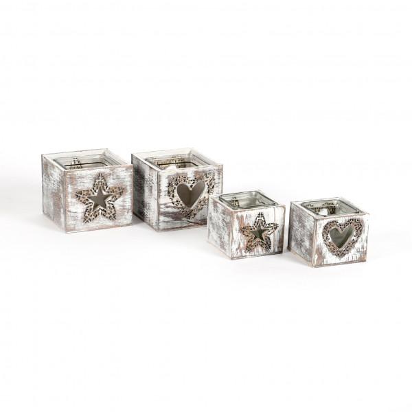 Holz-Teelichthalter, Stern/Herz sortiert antic-white washed