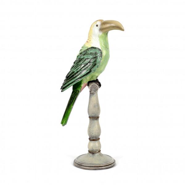 Poly Tukan stehend a.Säule, grün 19x12,8xh.42,5 cm