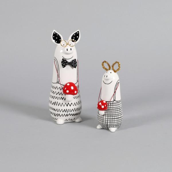 Keramik Glücks-Schwein Phil stehend m Fliegen-Pilz, schwarz/weiß
